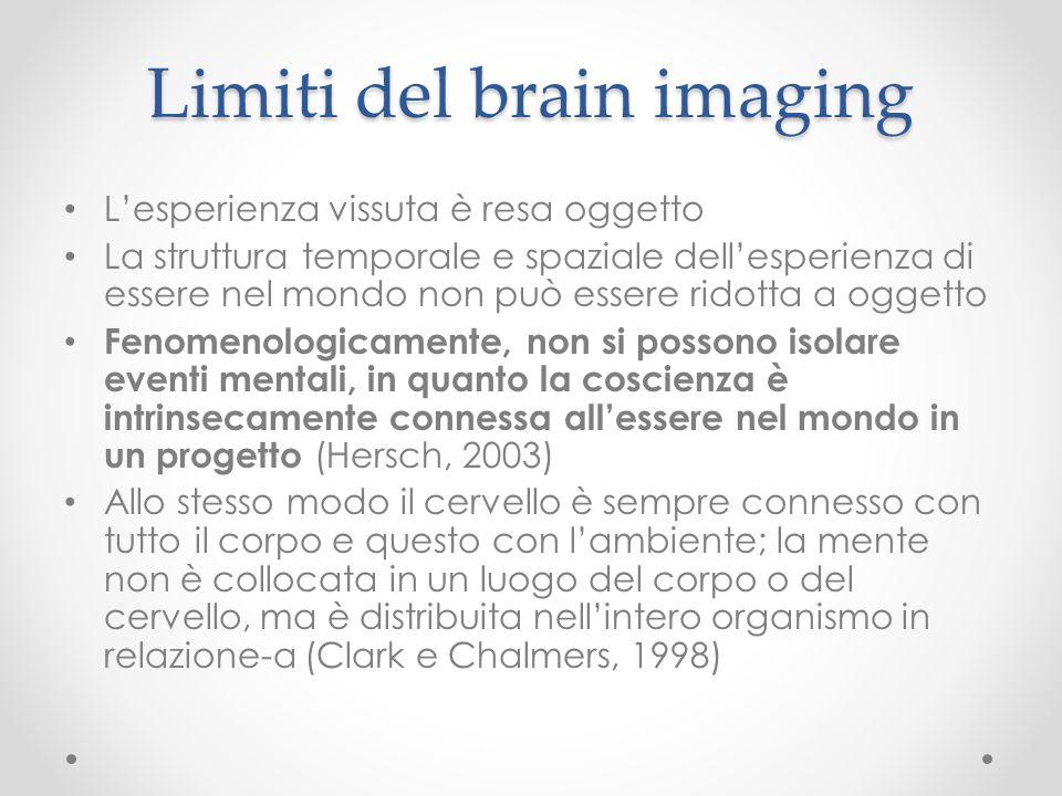 Limiti del brain imaging L'esperienza vissuta è resa oggetto La struttura temporale e spaziale dell'esperienza di essere nel mondo non può essere rido