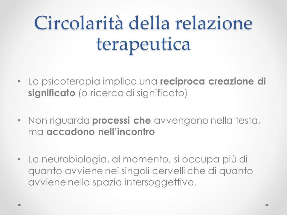 Circolarità della relazione terapeutica La psicoterapia implica una reciproca creazione di significato (o ricerca di significato) Non riguarda process