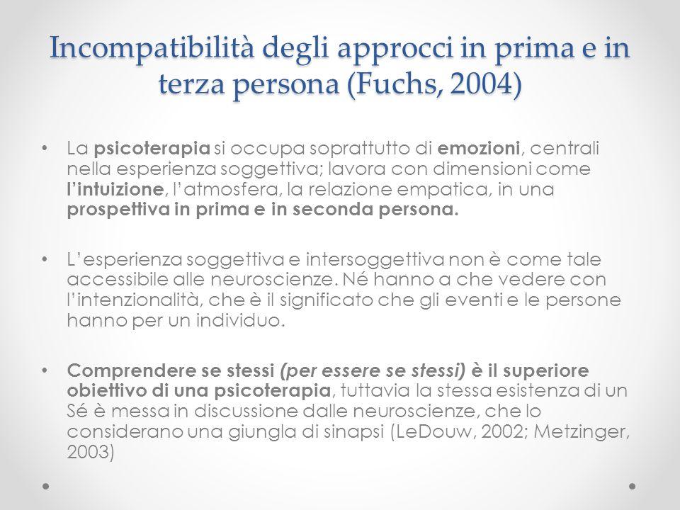 Incompatibilità degli approcci in prima e in terza persona (Fuchs, 2004) La psicoterapia si occupa soprattutto di emozioni, centrali nella esperienza