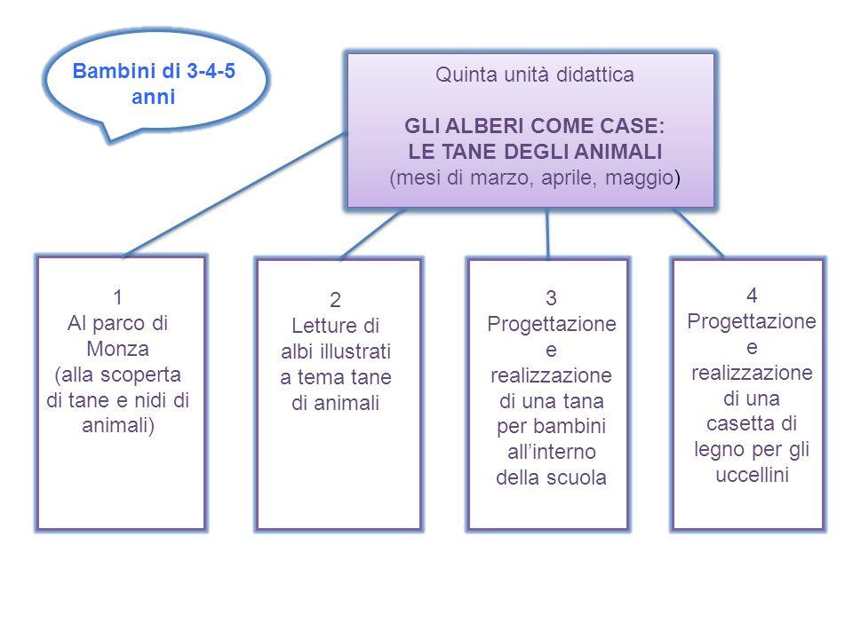 Bambini di 3-4-5 anni Quinta unità didattica GLI ALBERI COME CASE: LE TANE DEGLI ANIMALI (mesi di marzo, aprile, maggio) 1 Al parco di Monza (alla sco