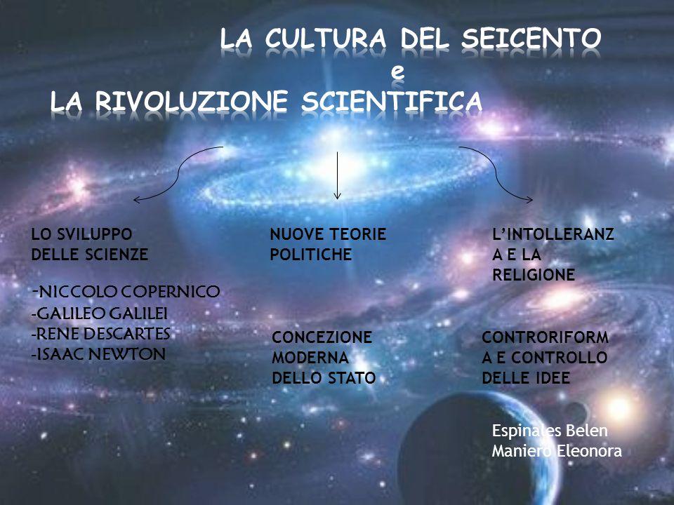 LO SVILUPPO DELLE SCIENZE - NICCOLO COPERNICO -GALILEO GALILEI -RENE DESCARTES -ISAAC NEWTON NUOVE TEORIE POLITICHE L'INTOLLERANZ A E LA RELIGIONE CON