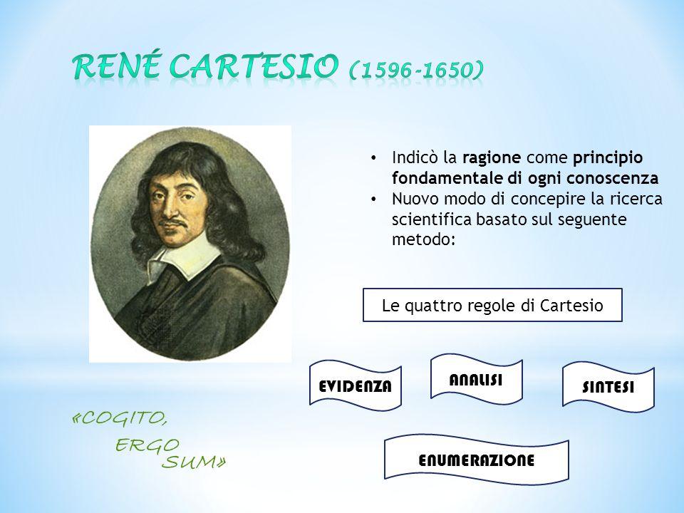 «COGITO, ERGO SUM» Indicò la ragione come principio fondamentale di ogni conoscenza Nuovo modo di concepire la ricerca scientifica basato sul seguente
