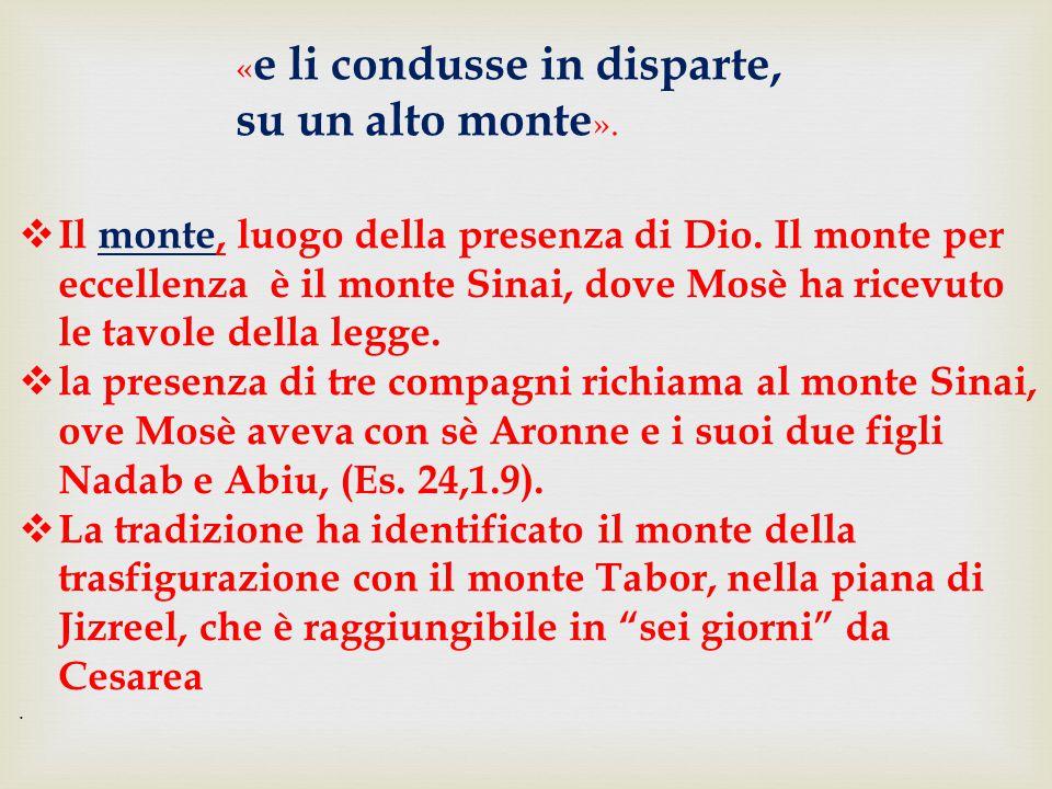  Il monte, luogo della presenza di Dio. Il monte per eccellenza è il monte Sinai, dove Mosè ha ricevuto le tavole della legge.  la presenza di tre c