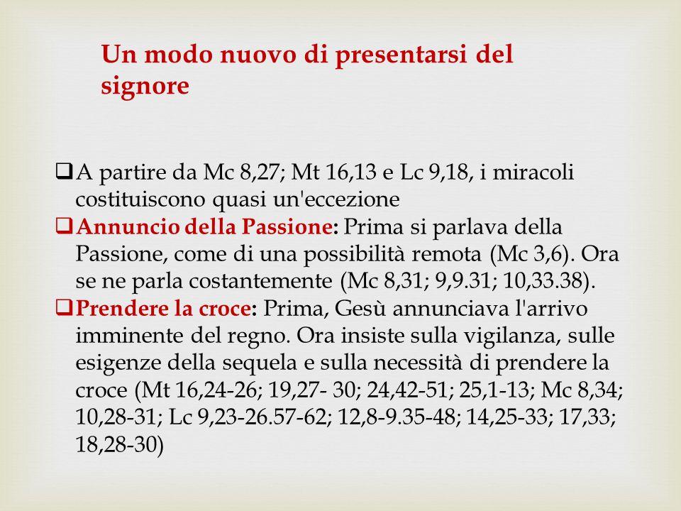  A partire da Mc 8,27; Mt 16,13 e Lc 9,18, i miracoli costituiscono quasi un'eccezione  Annuncio della Passione: Prima si parlava della Passione, co