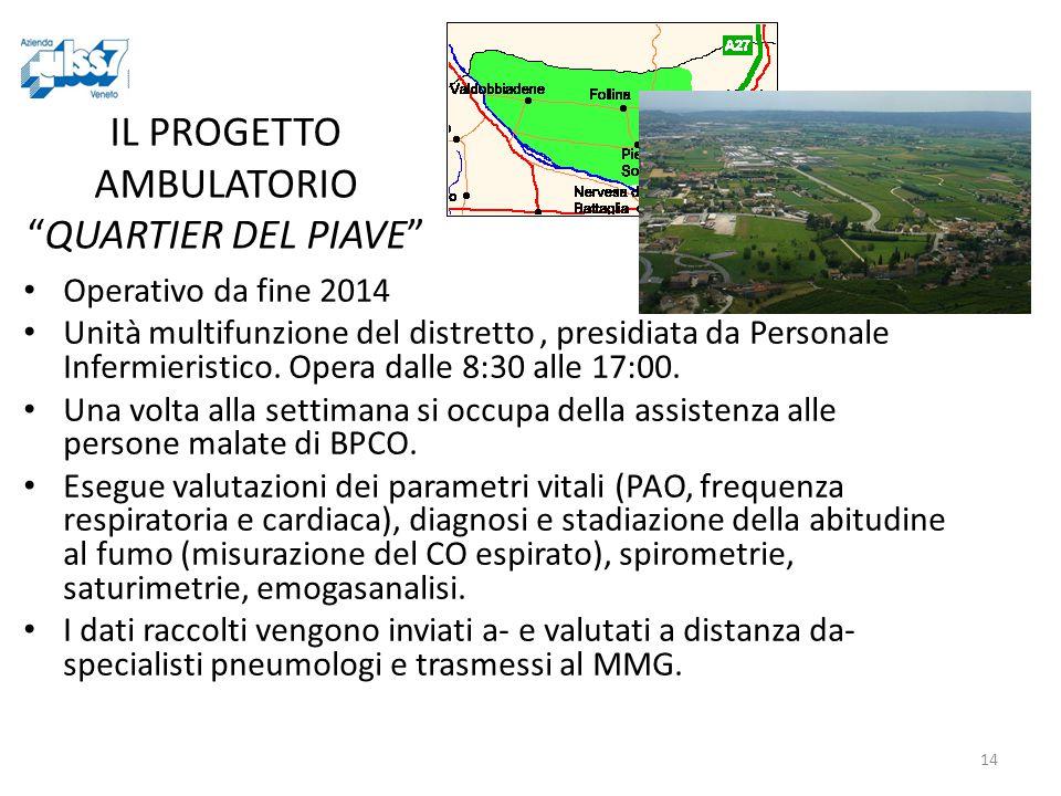 14 IL PROGETTO AMBULATORIO QUARTIER DEL PIAVE Operativo da fine 2014 Unità multifunzione del distretto, presidiata da Personale Infermieristico.