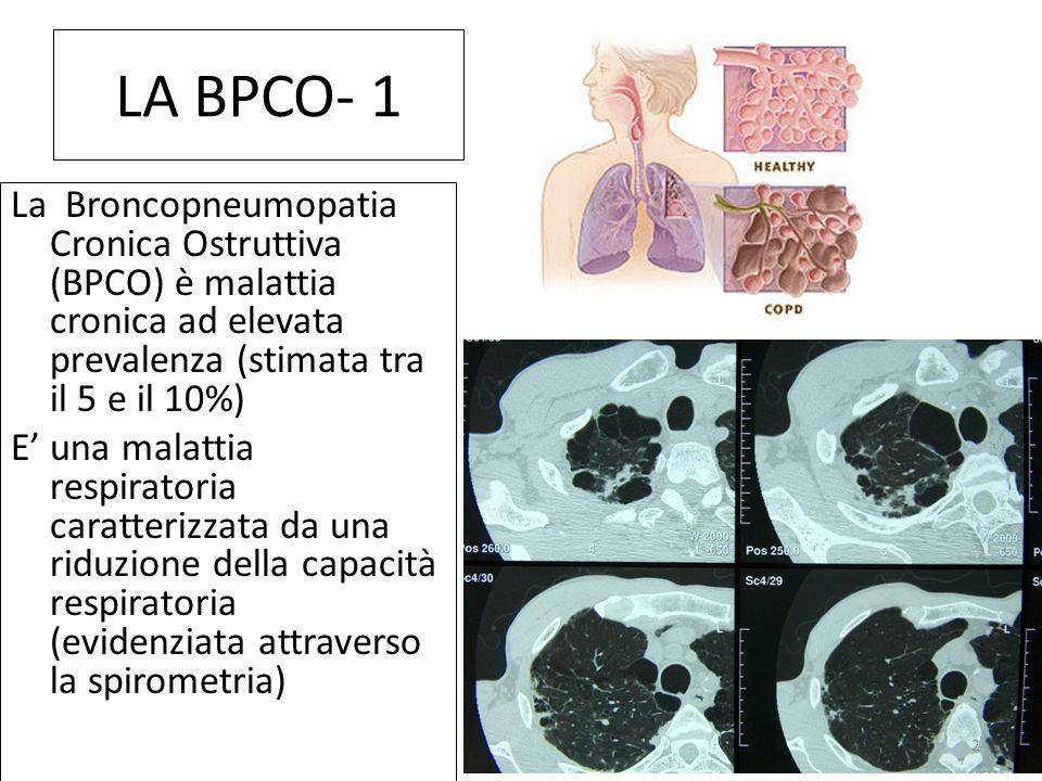 LA BPCO- 1 La Broncopneumopatia Cronica Ostruttiva (BPCO) è malattia cronica ad elevata prevalenza (stimata tra il 5 e il 10%) E' una malattia respiratoria caratterizzata da una riduzione della capacità respiratoria (evidenziata attraverso la spirometria) 2