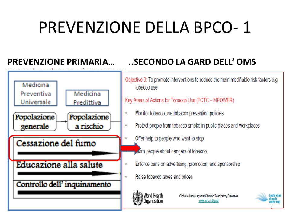PREVENZIONE DELLA BPCO- 1 PREVENZIONE PRIMARIA…..SECONDO LA GARD DELL' OMS 8