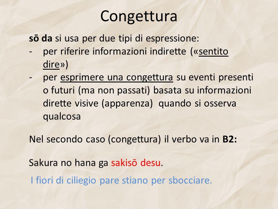 Congettura sō da si usa per due tipi di espressione: -per riferire informazioni indirette («sentito dire») -per esprimere una congettura su eventi pre