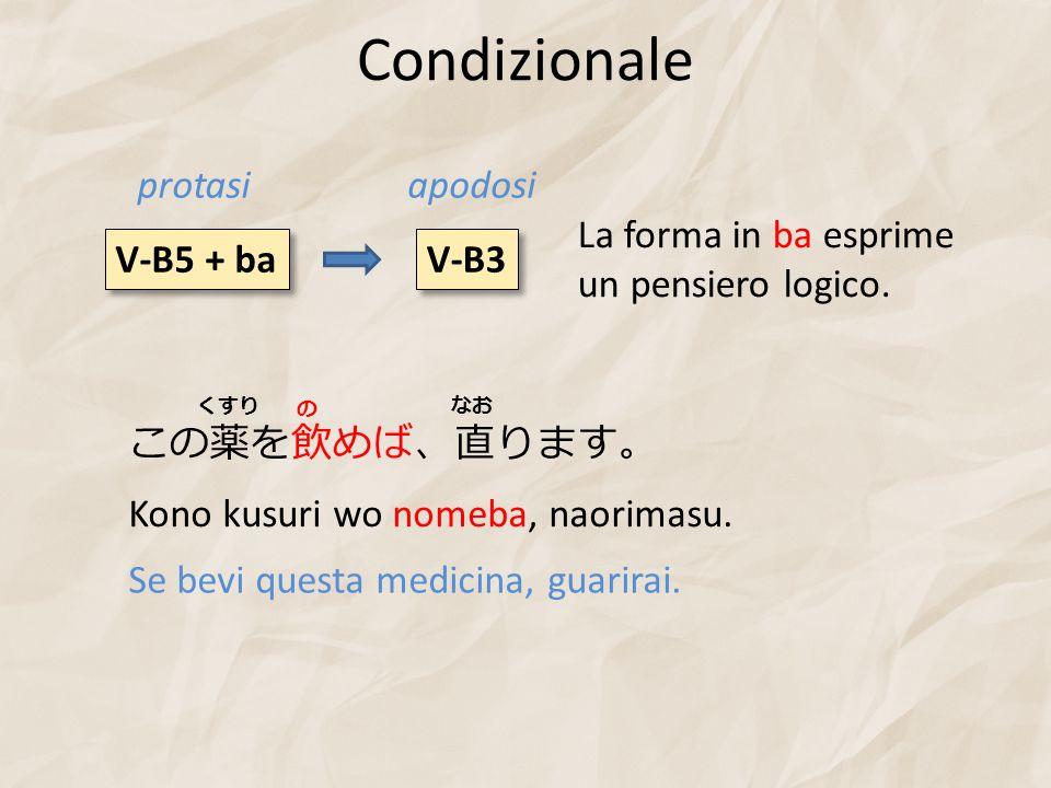Condizionale V-B5 + ba V-B3 protasiapodosi この薬を飲めば、直ります。 Kono kusuri wo nomeba, naorimasu. Se bevi questa medicina, guarirai. くすり の なお La forma in ba
