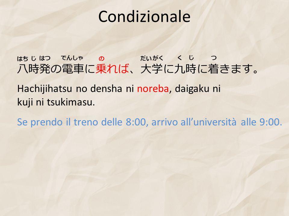 Condizionale 八時発の電車に乗れば、大学に九時に着きます。 Hachijihatsu no densha ni noreba, daigaku ni kuji ni tsukimasu. Se prendo il treno delle 8:00, arrivo all'universi