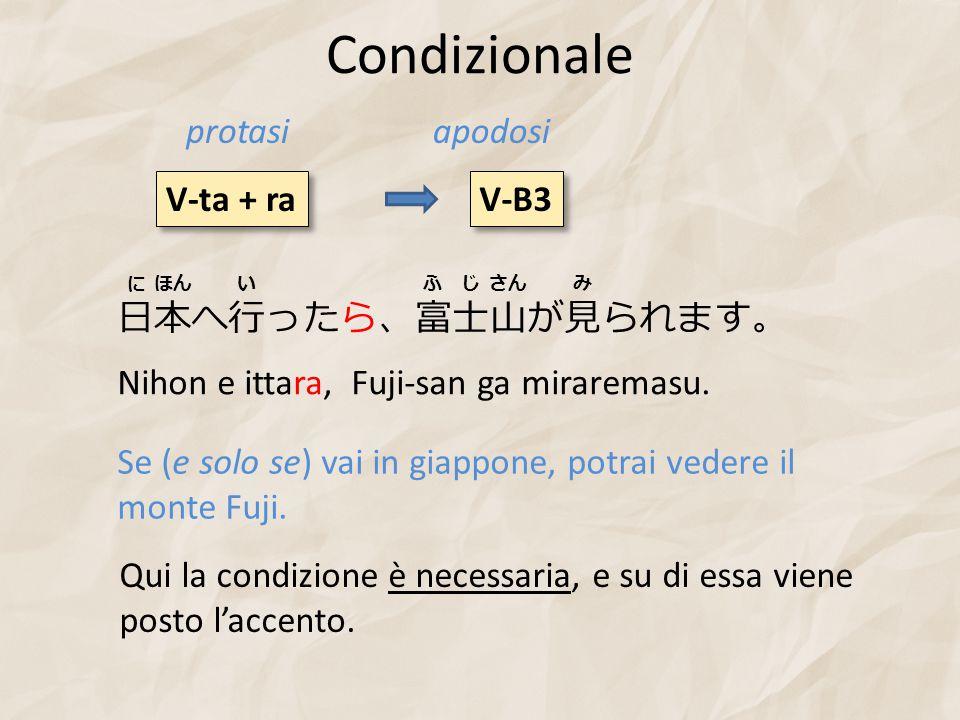 Condizionale V-ta + ra V-B3 protasiapodosi 日本へ行ったら、富士山が見られます。 Nihon e ittara, Fuji-san ga miraremasu. Se (e solo se) vai in giappone, potrai vedere il