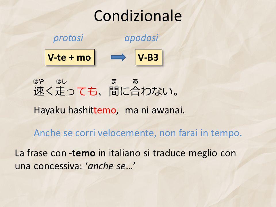 Condizionale V-te + mo V-B3 protasiapodosi 速く走っても、間に合わない。 Hayaku hashittemo, ma ni awanai. Anche se corri velocemente, non farai in tempo. La frase co