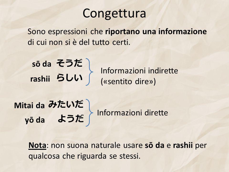Congettura Sono espressioni che riportano una informazione di cui non si è del tutto certi. みたいだ ようだ yō da らしい そうだ sō da rashii Mitai da Informazioni