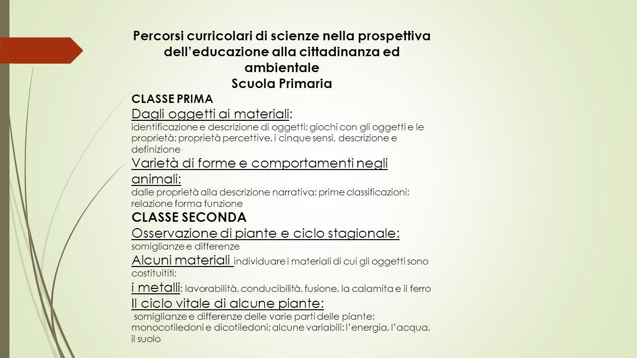 Percorsi curricolari di scienze nella prospettiva dell'educazione alla cittadinanza ed ambientale Scuola Primaria CLASSE PRIMA Dagli oggetti ai materi