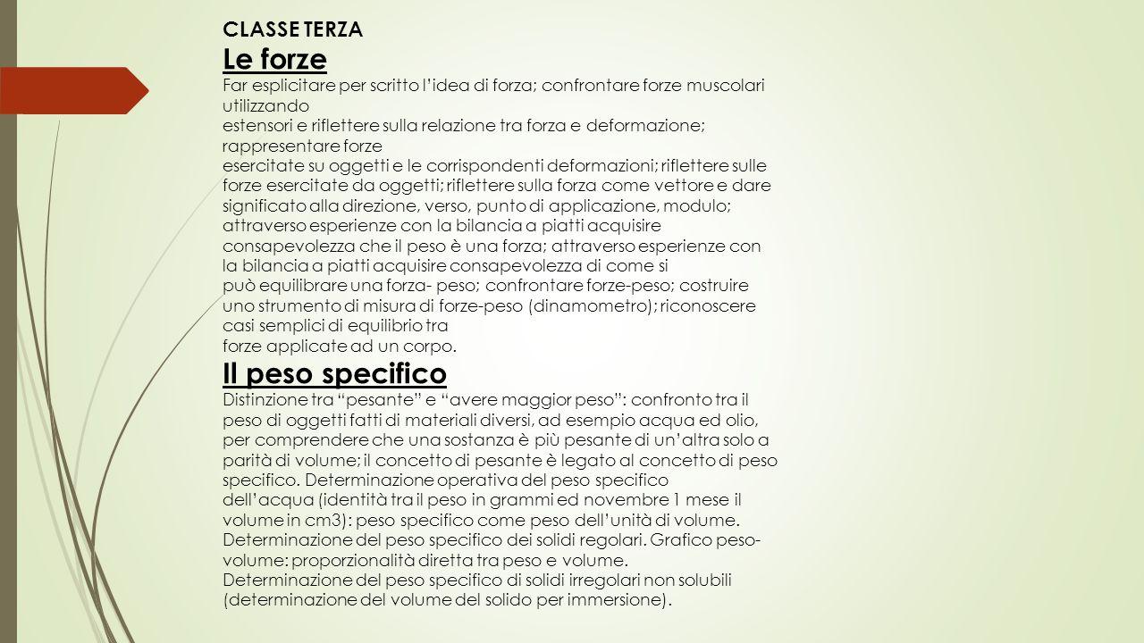 CLASSE TERZA Le forze Far esplicitare per scritto l'idea di forza; confrontare forze muscolari utilizzando estensori e riflettere sulla relazione tra