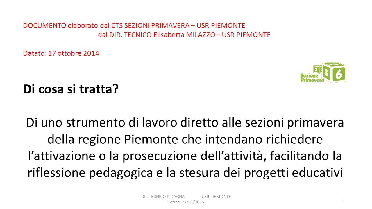 DIR TECNICO P. DAGNA USR PIEMONTE Torino, 27/01/2015 2 DOCUMENTO elaborato dal CTS SEZIONI PRIMAVERA – USR PIEMONTE dal DIR. TECNICO Elisabetta MILAZZ