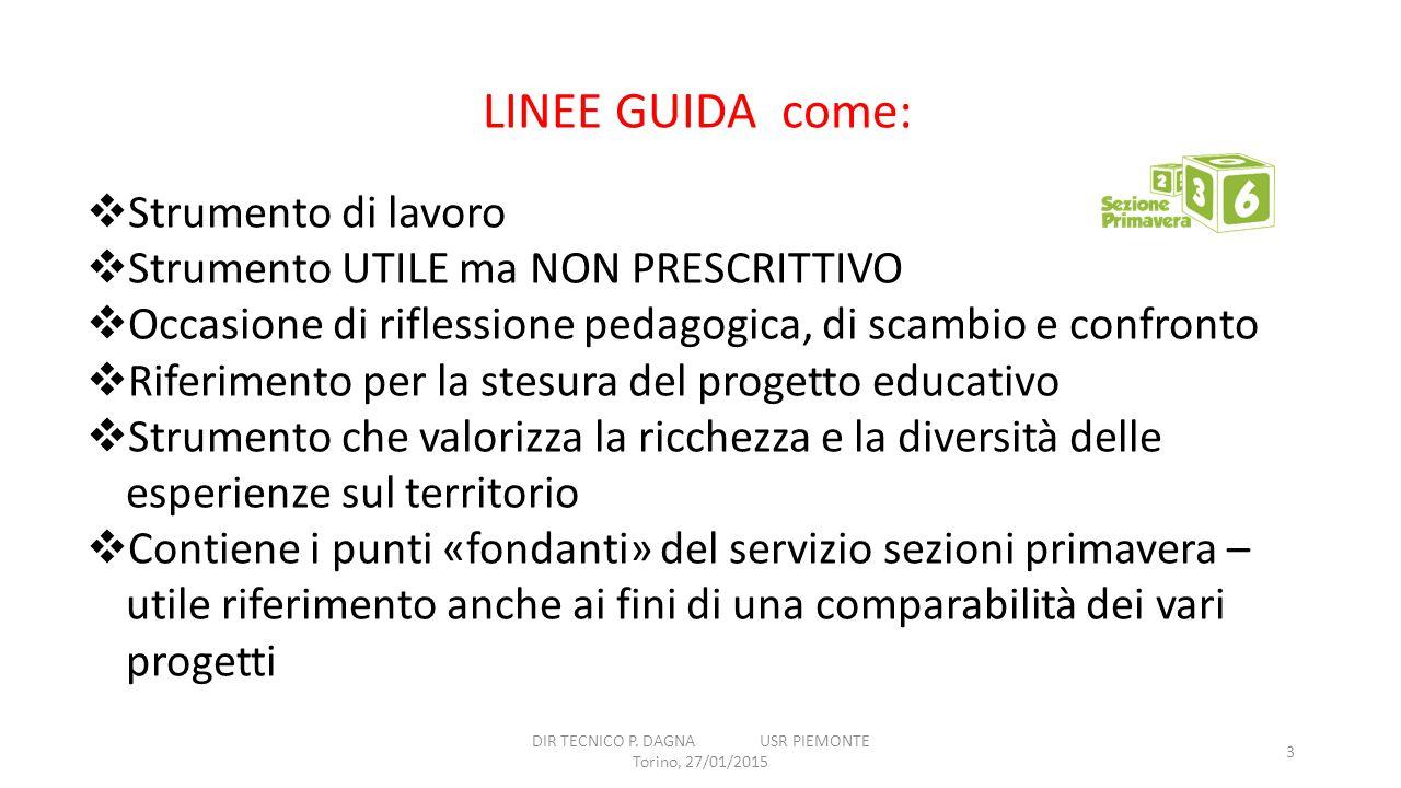DIR TECNICO P. DAGNA USR PIEMONTE Torino, 27/01/2015 3 LINEE GUIDA come:  Strumento di lavoro  Strumento UTILE ma NON PRESCRITTIVO  Occasione di ri