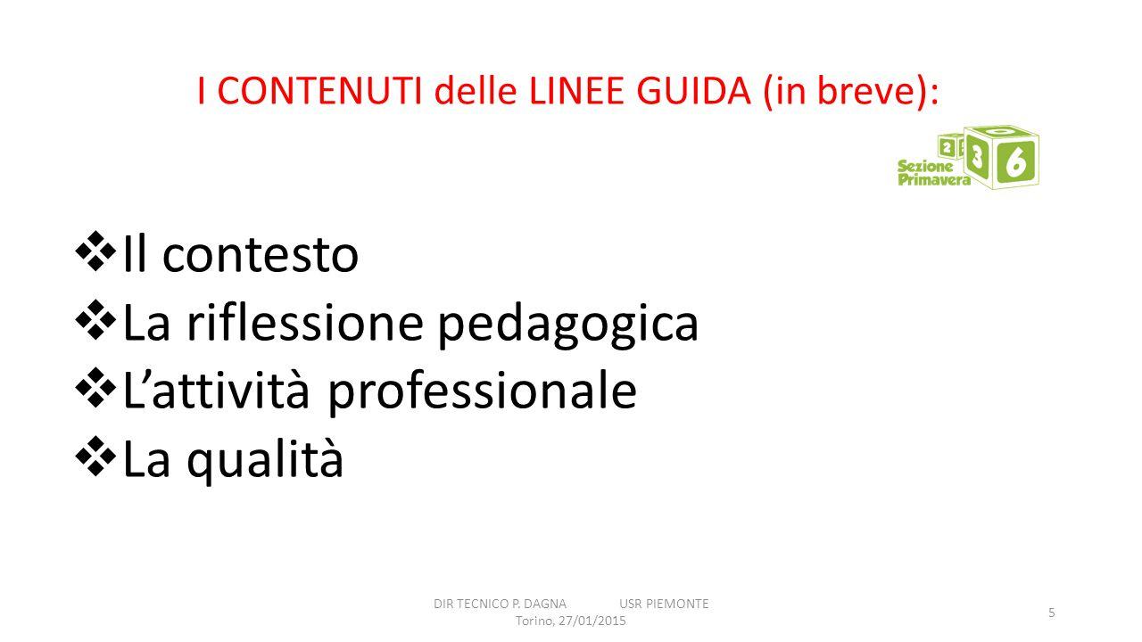 DIR TECNICO P. DAGNA USR PIEMONTE Torino, 27/01/2015 5 I CONTENUTI delle LINEE GUIDA (in breve):  Il contesto  La riflessione pedagogica  L'attivit