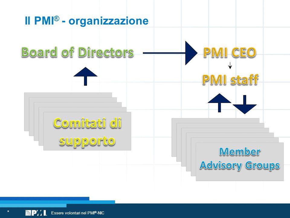 Il PMI ® - organizzazione * Essere volontari nel PMI ® -NIC