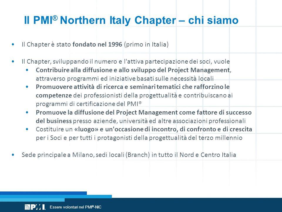 Organizzazione PMI ® -NIC: http://www.pmi-nic.org/istituzionale.asp?pag=chi%20siamo PMI ® -NIC Volunteer Team: volunteer@pmi-nic.org Volontariato nel NIC: www.pmi-nic.org/iniziative.asp Volontariato nel PMI ® : www.pmi.org/Get-Involved/Volunteer-Opportunities.aspx Leadership Institute: http://www.pmi.org/Get-Involved/Volunteer-Excel-as-a-Leader.aspx PMI ® Governance: http://www.pmi.org/About-Us/Governance.aspx Dichiarazione PDU: http://www.pmi.org/Certification/Maintain-Your-Credential.aspx Per saperne di più Essere volontari nel PMI ® -NIC