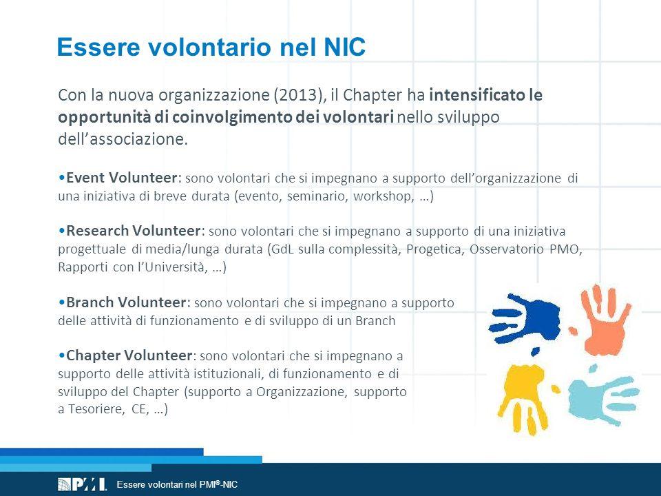 Essere volontario nel NIC Con la nuova organizzazione (2013), il Chapter ha intensificato le opportunità di coinvolgimento dei volontari nello sviluppo dell'associazione.