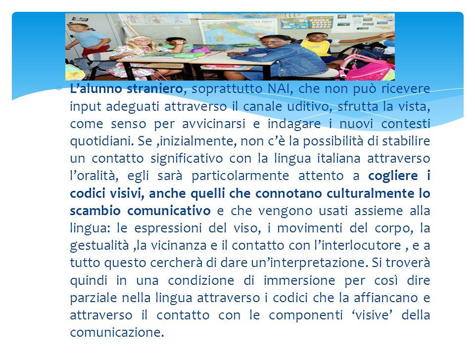  L'alunno straniero, soprattutto NAI, che non può ricevere input adeguati attraverso il canale uditivo, sfrutta la vista, come senso per avvicinarsi