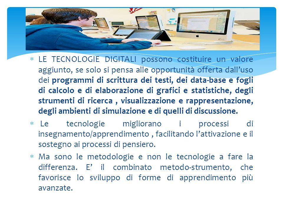  LE TECNOLOGIE DIGITALI possono costituire un valore aggiunto, se solo si pensa alle opportunità offerta dall'uso dei programmi di scrittura dei test