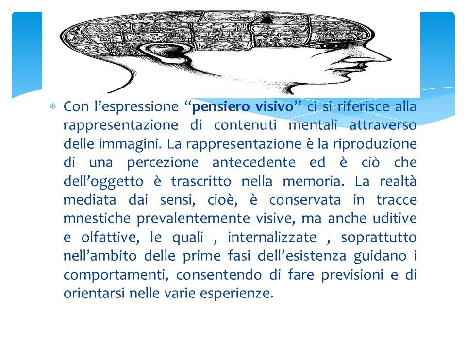 """ Con l'espressione """"pensiero visivo"""" ci si riferisce alla rappresentazione di contenuti mentali attraverso delle immagini. La rappresentazione è la r"""