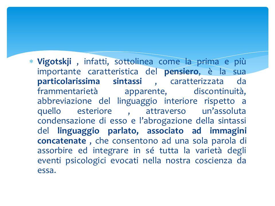  Vigotskji, infatti, sottolinea come la prima e più importante caratteristica del pensiero, è la sua particolarissima sintassi, caratterizzata da fra