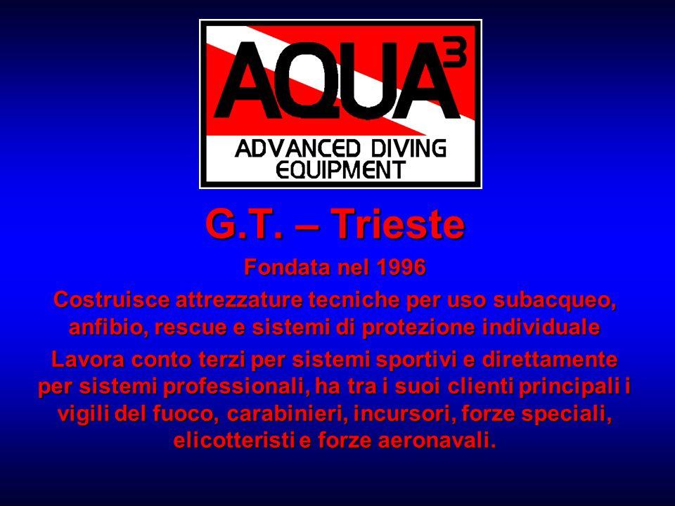 G.T. – Trieste Fondata nel 1996 Costruisce attrezzature tecniche per uso subacqueo, anfibio, rescue e sistemi di protezione individuale Lavora conto t