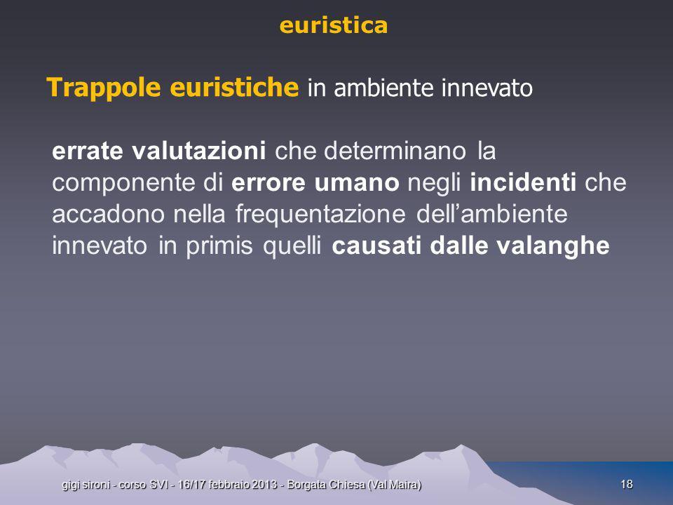 gigi sironi - corso SVI - 16/17 febbraio 2013 - Borgata Chiesa (Val Maira)18 euristica Trappole euristiche in ambiente innevato errate valutazioni che