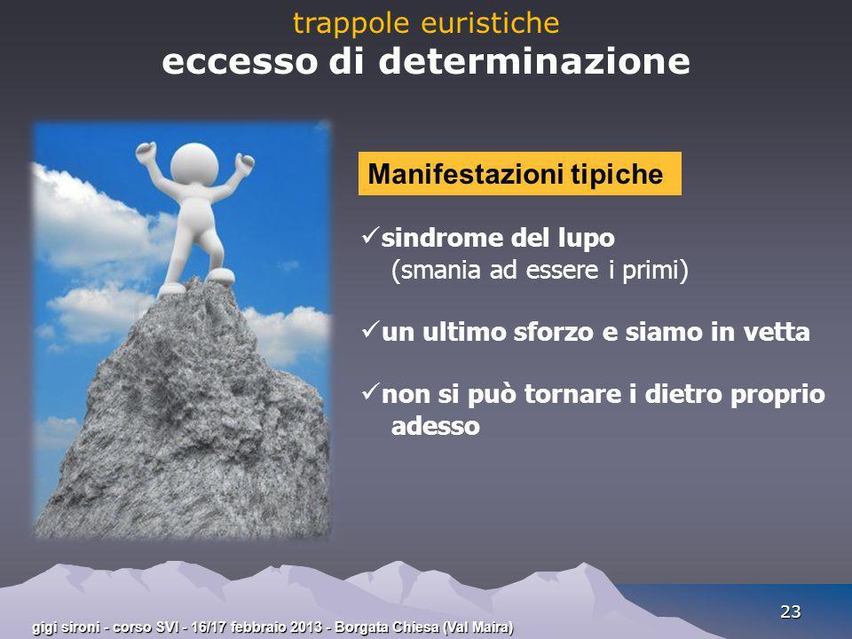 gigi sironi - corso SVI - 16/17 febbraio 2013 - Borgata Chiesa (Val Maira) 23 trappole euristiche eccesso di determinazione sindrome del lupo (smania