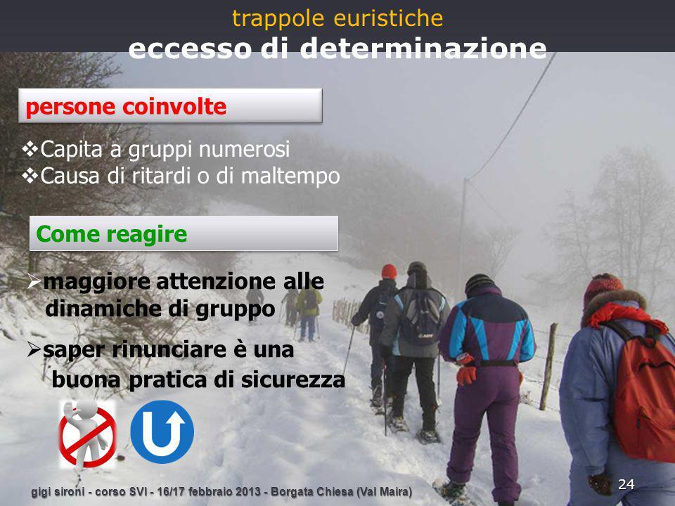 gigi sironi - corso SVI - 16/17 febbraio 2013 - Borgata Chiesa (Val Maira) 24 trappole euristiche eccesso di determinazione  maggiore attenzione alle