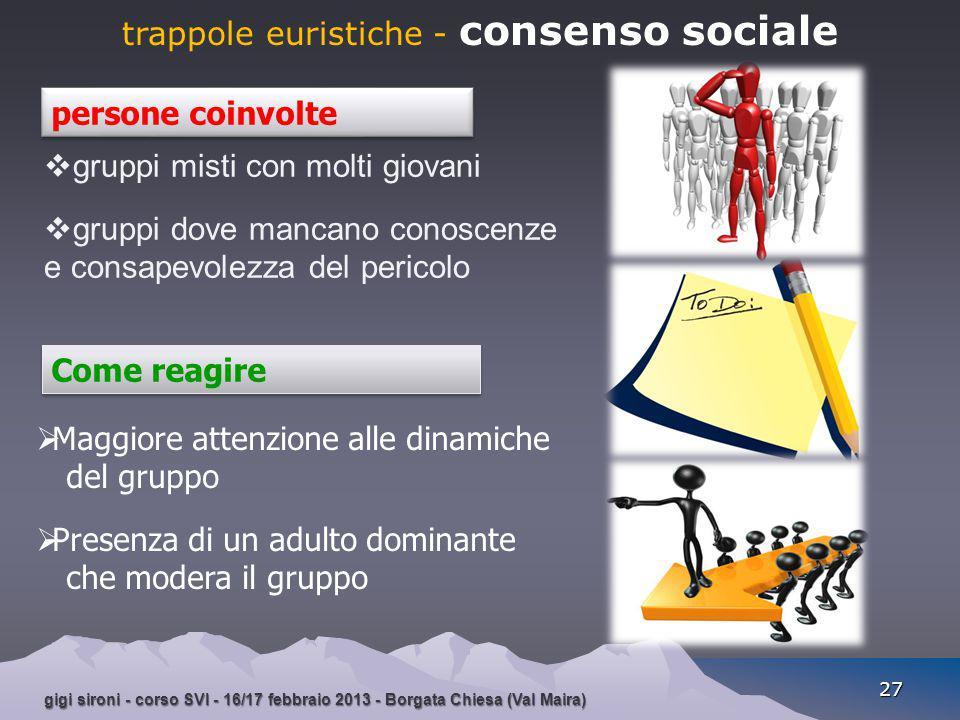 gigi sironi - corso SVI - 16/17 febbraio 2013 - Borgata Chiesa (Val Maira) 27 trappole euristiche - consenso sociale  Maggiore attenzione alle dinami