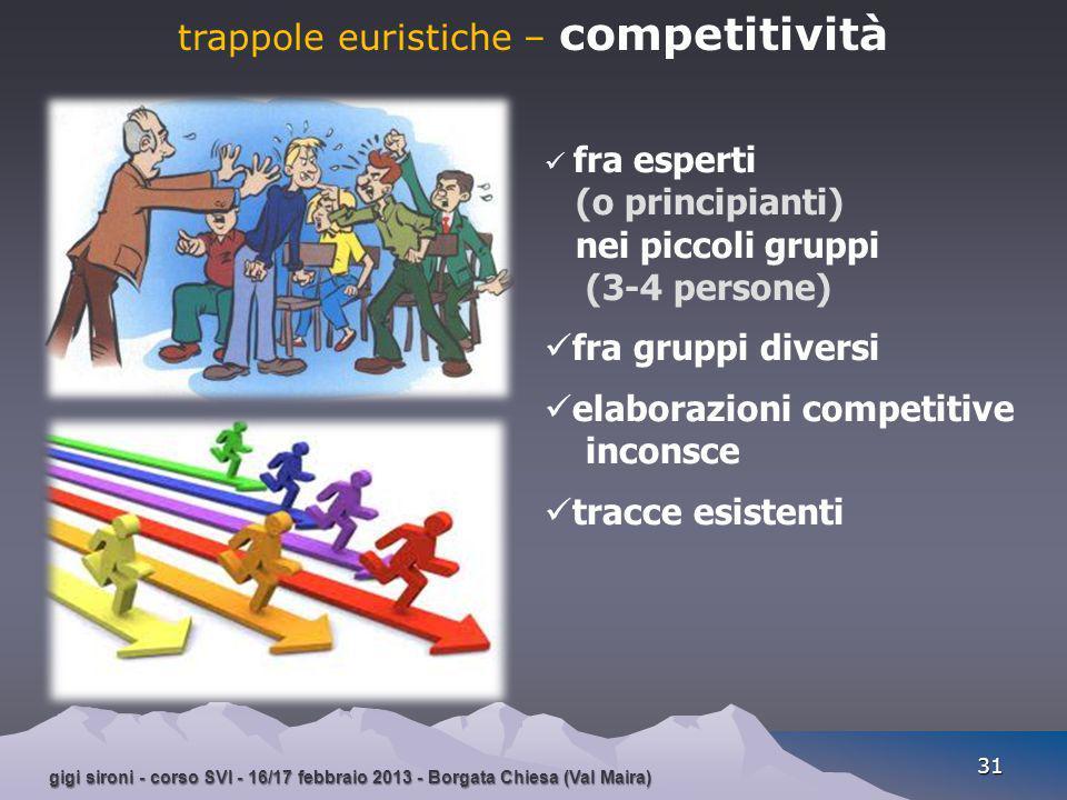 gigi sironi - corso SVI - 16/17 febbraio 2013 - Borgata Chiesa (Val Maira) 31 trappole euristiche – competitività fra esperti (o principianti) nei pic