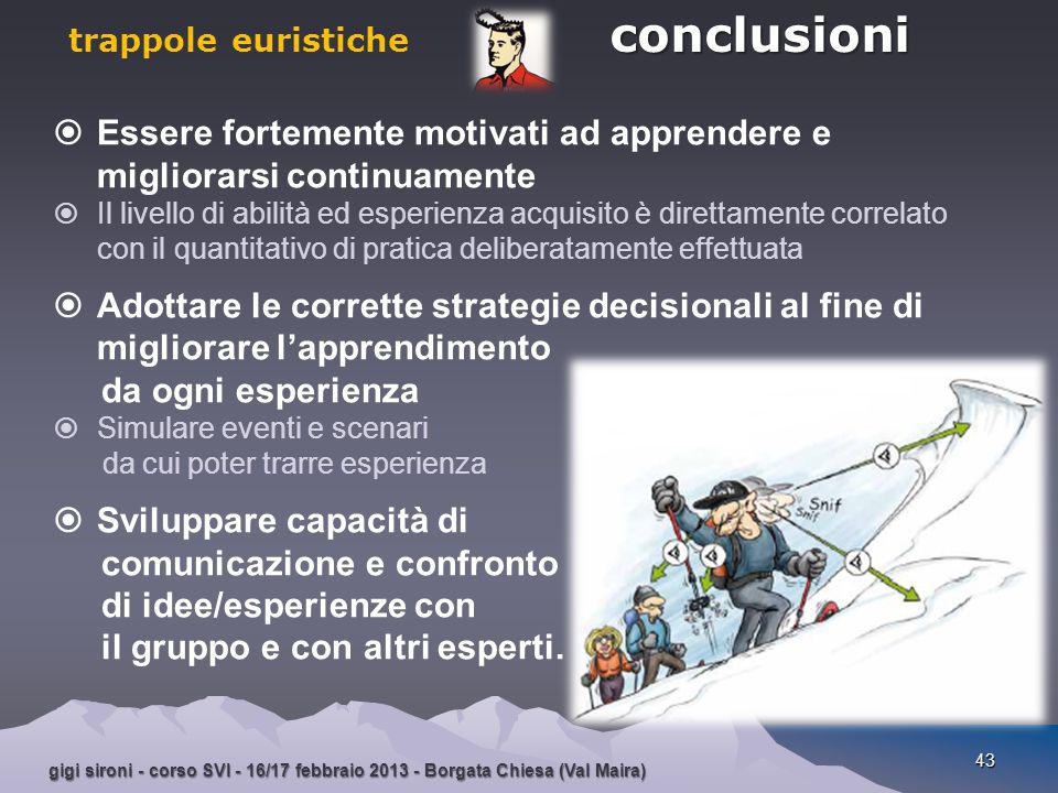 gigi sironi - corso SVI - 16/17 febbraio 2013 - Borgata Chiesa (Val Maira) 43  Essere fortemente motivati ad apprendere e migliorarsi continuamente 