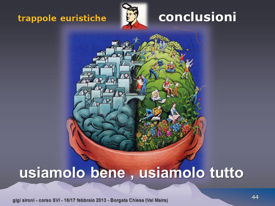 gigi sironi - corso SVI - 16/17 febbraio 2013 - Borgata Chiesa (Val Maira) 44 conclusioni trappole euristiche conclusioni usiamolo bene, usiamolo tutt