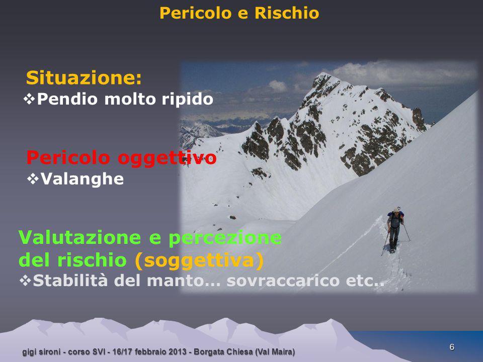 gigi sironi - corso SVI - 16/17 febbraio 2013 - Borgata Chiesa (Val Maira) 6 Pericolo e Rischio Situazione :  Pendio molto ripido Pericolo oggettivo