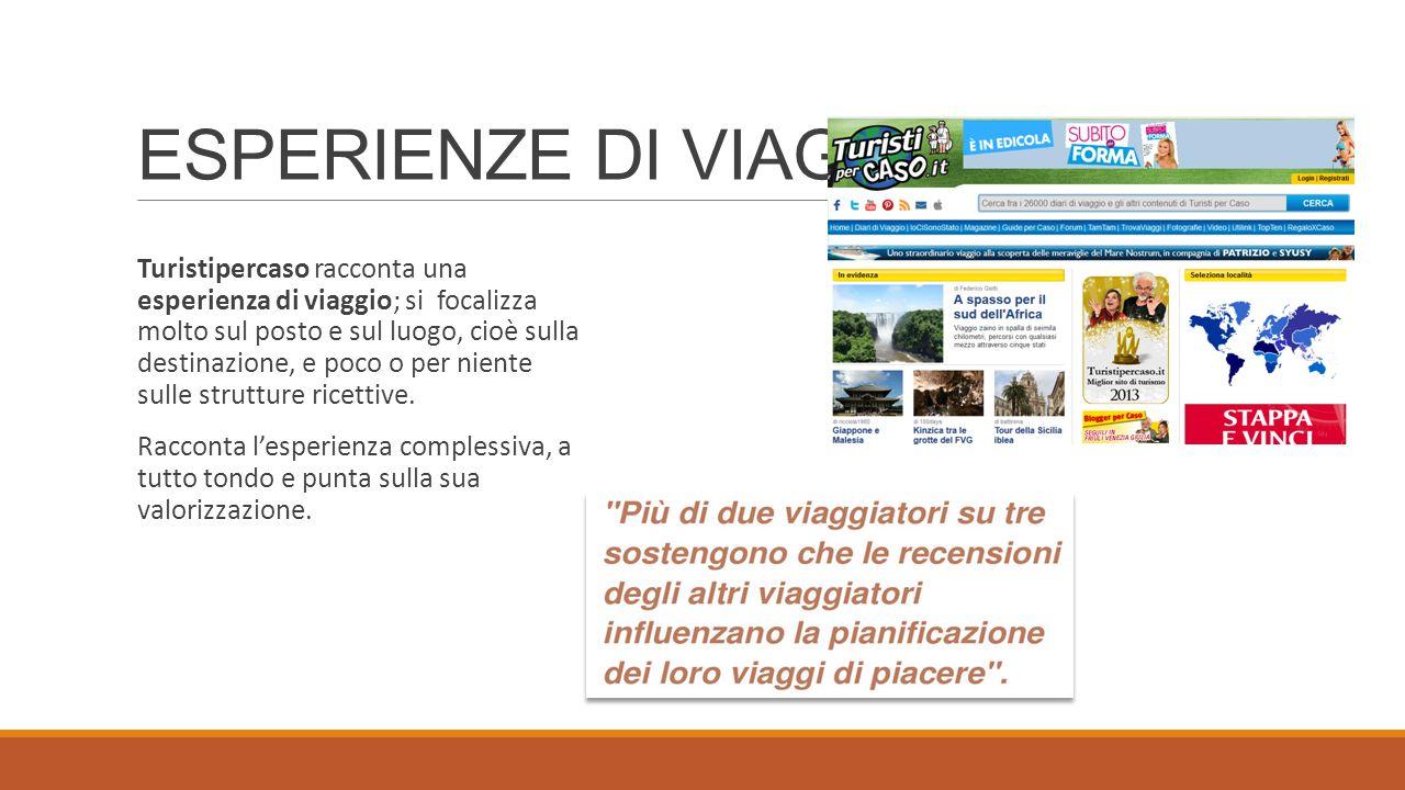 ESPERIENZE DI VIAGGIO Turistipercaso racconta una esperienza di viaggio; si focalizza molto sul posto e sul luogo, cioè sulla destinazione, e poco o per niente sulle strutture ricettive.