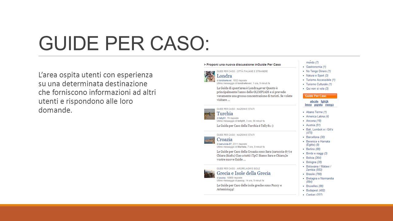 GUIDE PER CASO: L'area ospita utenti con esperienza su una determinata destinazione che forniscono informazioni ad altri utenti e rispondono alle loro domande.