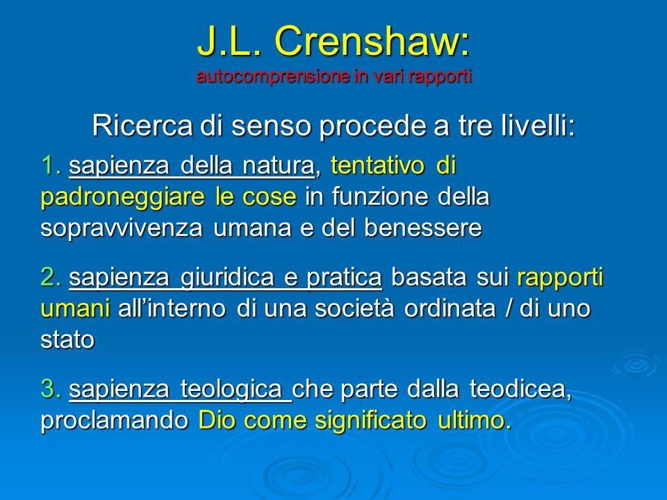 J.L. Crenshaw: autocomprensione in vari rapporti Ricerca di senso procede a tre livelli: 1.