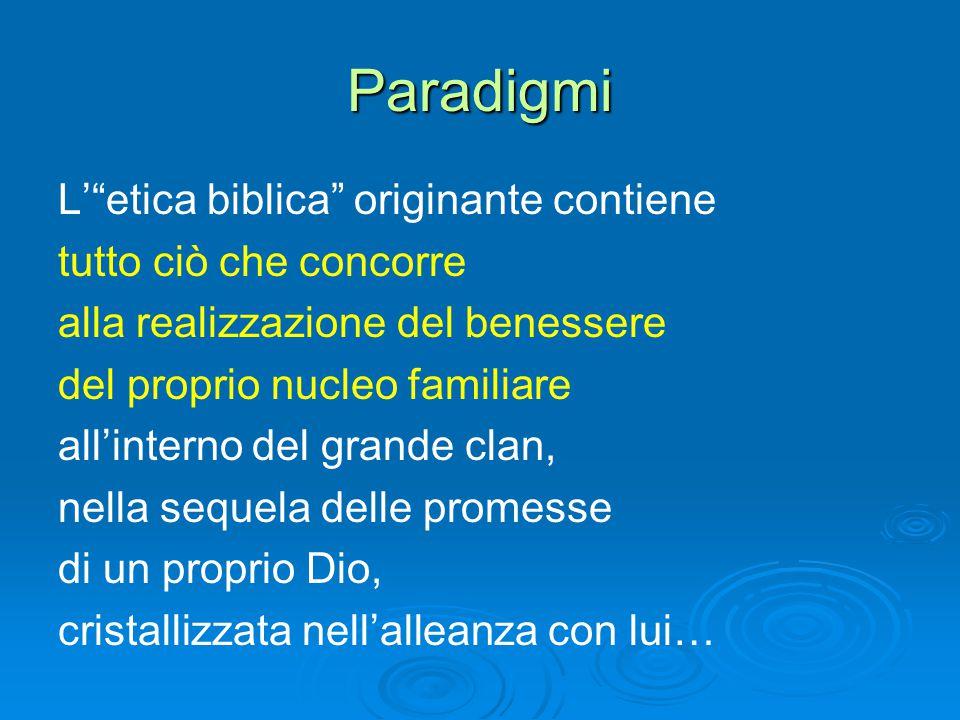 Paradigmi L' etica biblica originante contiene tutto ciò che concorre alla realizzazione del benessere del proprio nucleo familiare all'interno del grande clan, nella sequela delle promesse di un proprio Dio, cristallizzata nell'alleanza con lui…