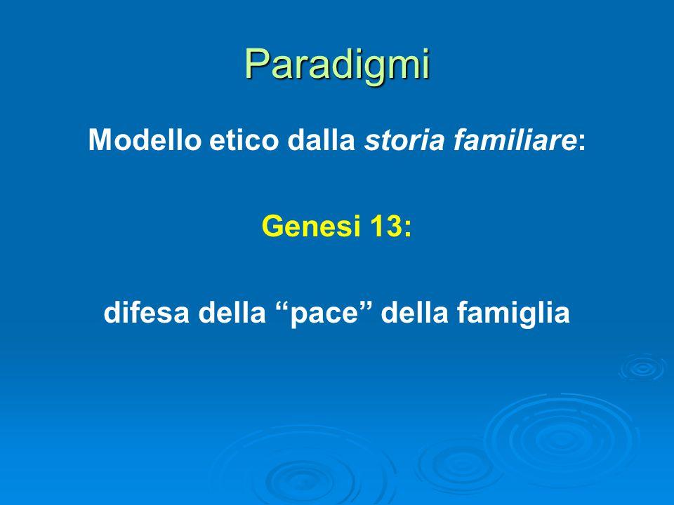 Paradigmi Modello etico dalla storia familiare: Genesi 13: difesa della pace della famiglia