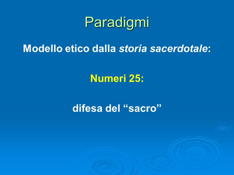 Paradigmi Modello etico dalla storia sacerdotale: Numeri 25: difesa del sacro