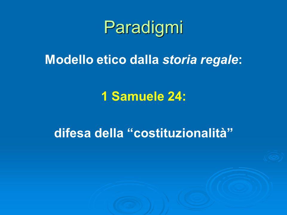 Paradigmi Modello etico dalla storia regale: 1 Samuele 24: difesa della costituzionalità