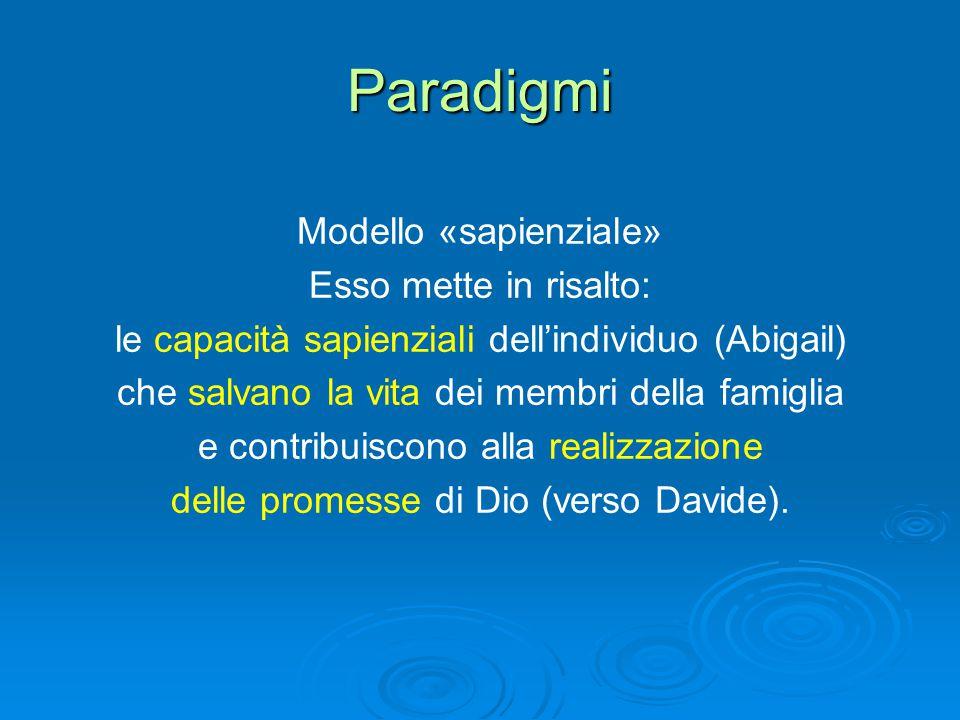 Paradigmi Modello «sapienziale» Esso mette in risalto: le capacità sapienziali dell'individuo (Abigail) che salvano la vita dei membri della famiglia e contribuiscono alla realizzazione delle promesse di Dio (verso Davide).