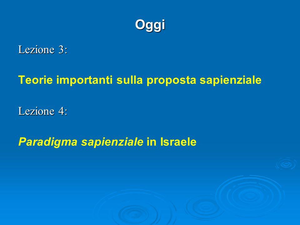 Oggi Lezione 3: Teorie importanti sulla proposta sapienziale Lezione 4: Paradigma sapienziale in Israele