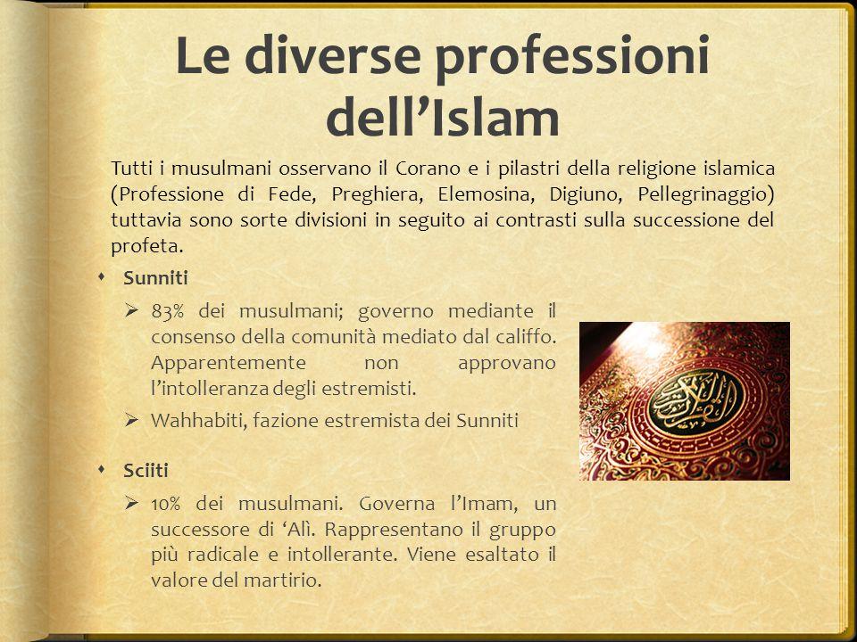 Le diverse professioni dell'Islam  Sunniti  83% dei musulmani; governo mediante il consenso della comunità mediato dal califfo.
