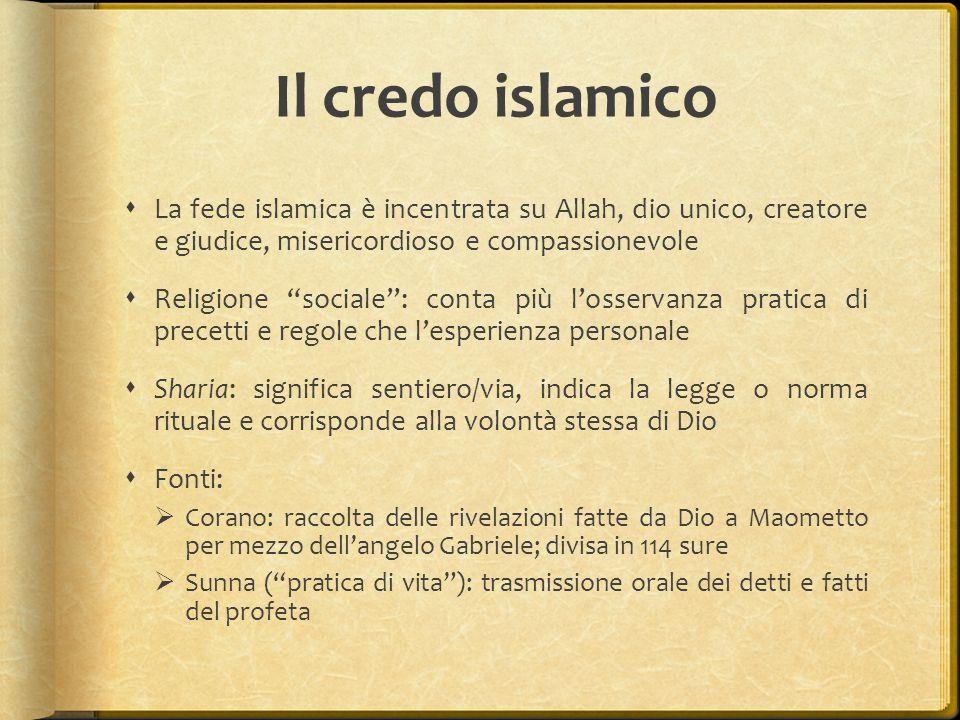 """Il credo islamico  La fede islamica è incentrata su Allah, dio unico, creatore e giudice, misericordioso e compassionevole  Religione """"sociale"""": con"""