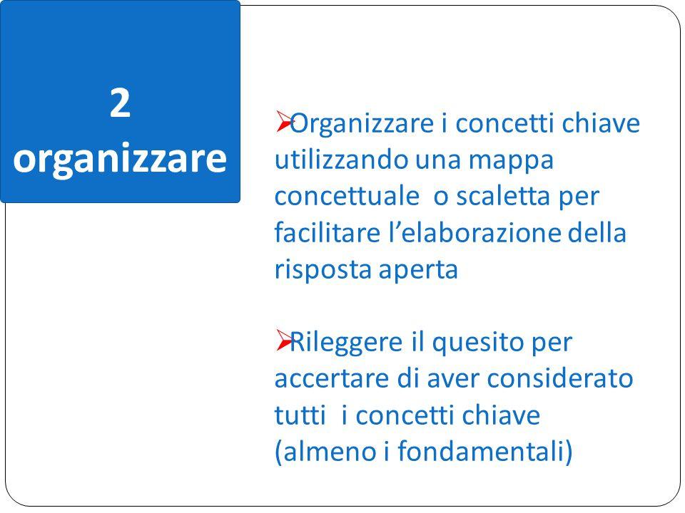 2 organizzare  Organizzare i concetti chiave utilizzando una mappa concettuale o scaletta per facilitare l'elaborazione della risposta aperta  Rileg